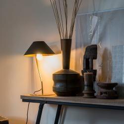 Photo of Art Deco Tischlampe schwarz mit goldenem Interieur – Knick Art Deco E27 Innenbeleuchtung QazqaQazqa
