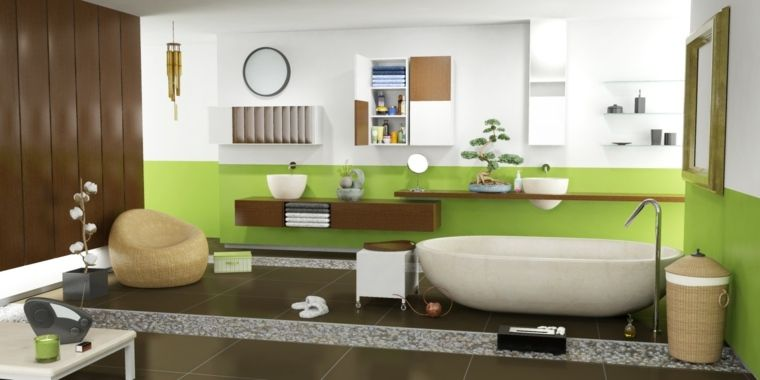 salle de bain zen avec déco en vert et bois | Idées ...