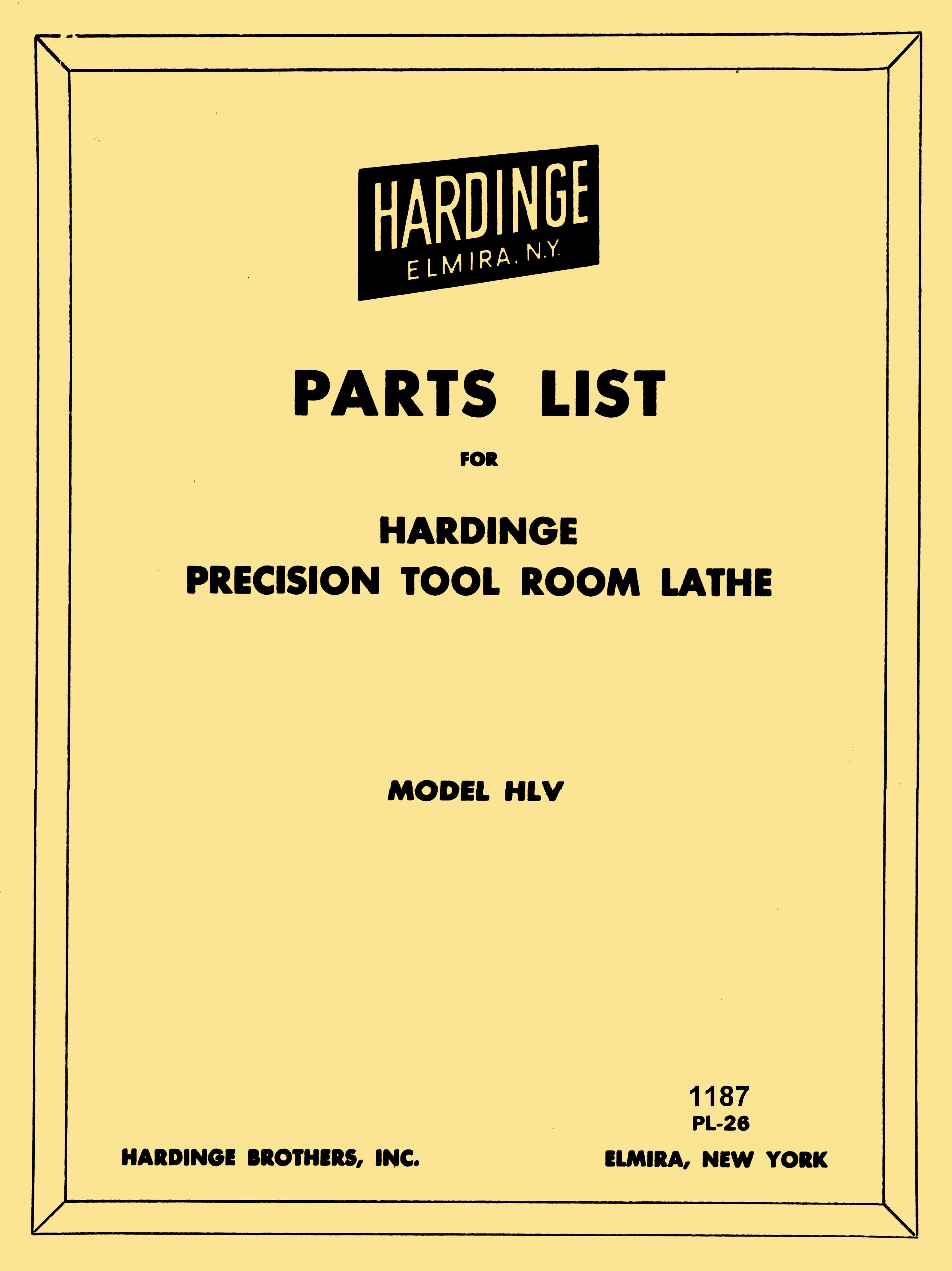 Hardinge Hlv Bk High Speed Tool Room Lathe Parts Manual Ozark Tool Manuals Books Tool Room Lathe Parts Lathe