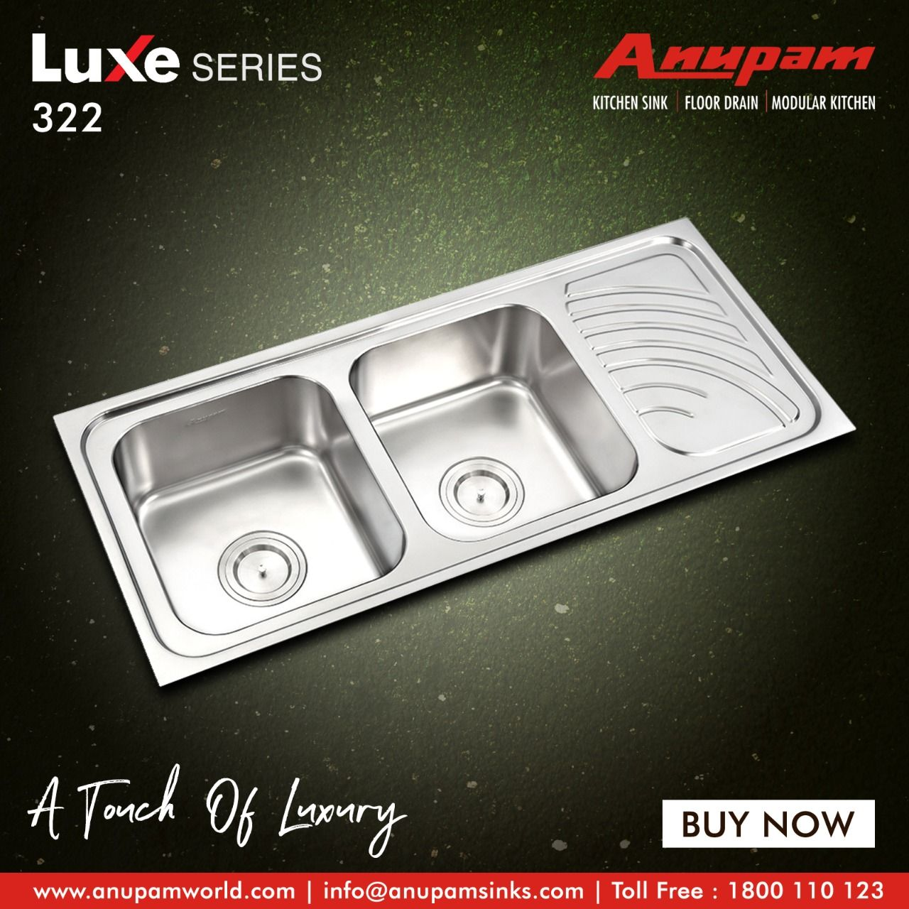 An Amazingly Efficient Doublebowlsink With Drainboard By Anupam Giving Your Kitchenarea A Touch Of Lux Double Bowl Sink Stainless Steel Grades Kitchen Sink