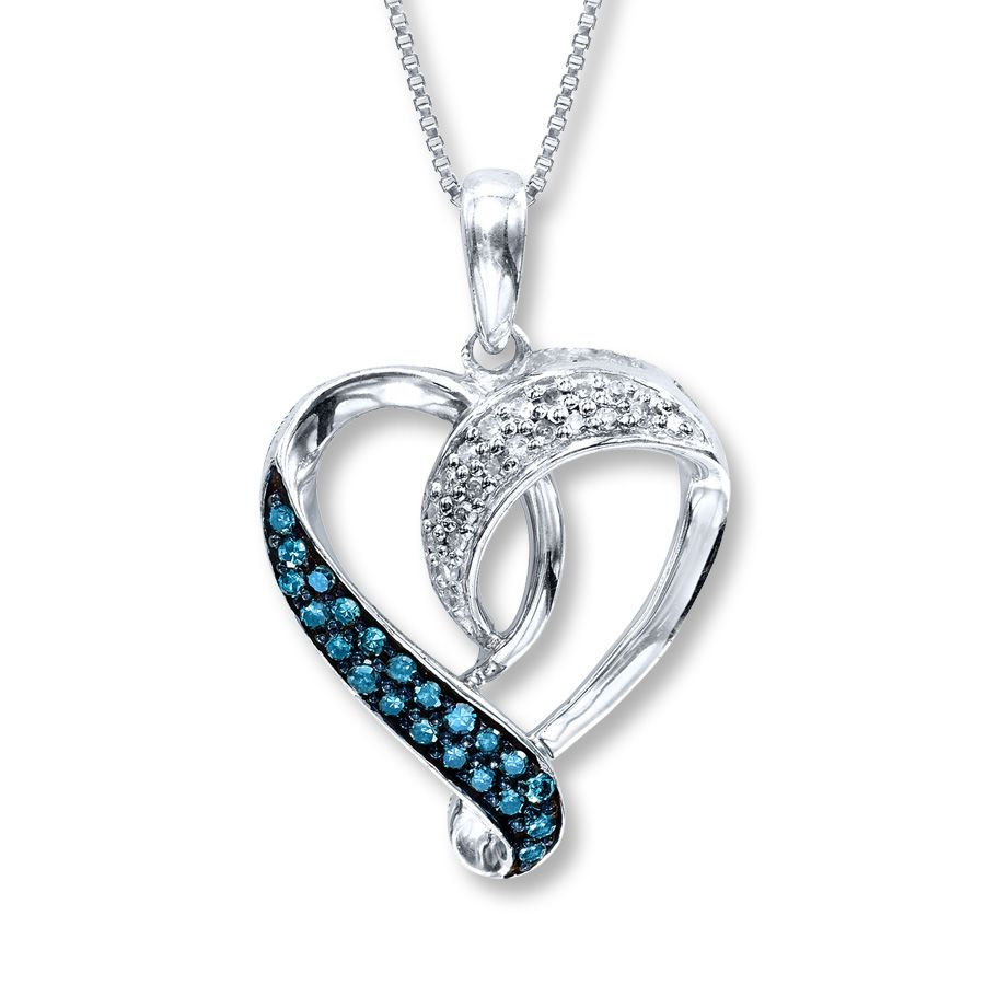 Artistry Diamonds Diamond Heart Necklace 1/5 ct tw Blue/White Sterling Silver 8KxVaF