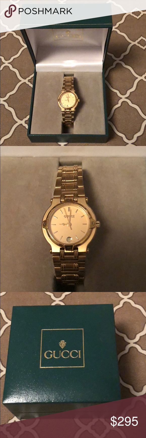024fc665715 GUCCI authentic women s watch in original box. Excellent condition. GUCCI  authentic gold face on gold tone women s watch in original box.