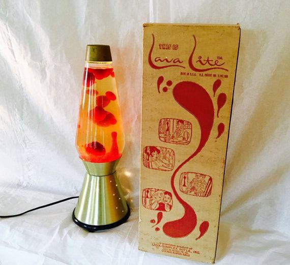 Original 1970s Lava Lamp By Lava Lite Century Model Gold W Red Wax Starlight Base New W Original Box Lava Lamp Lamp Lava