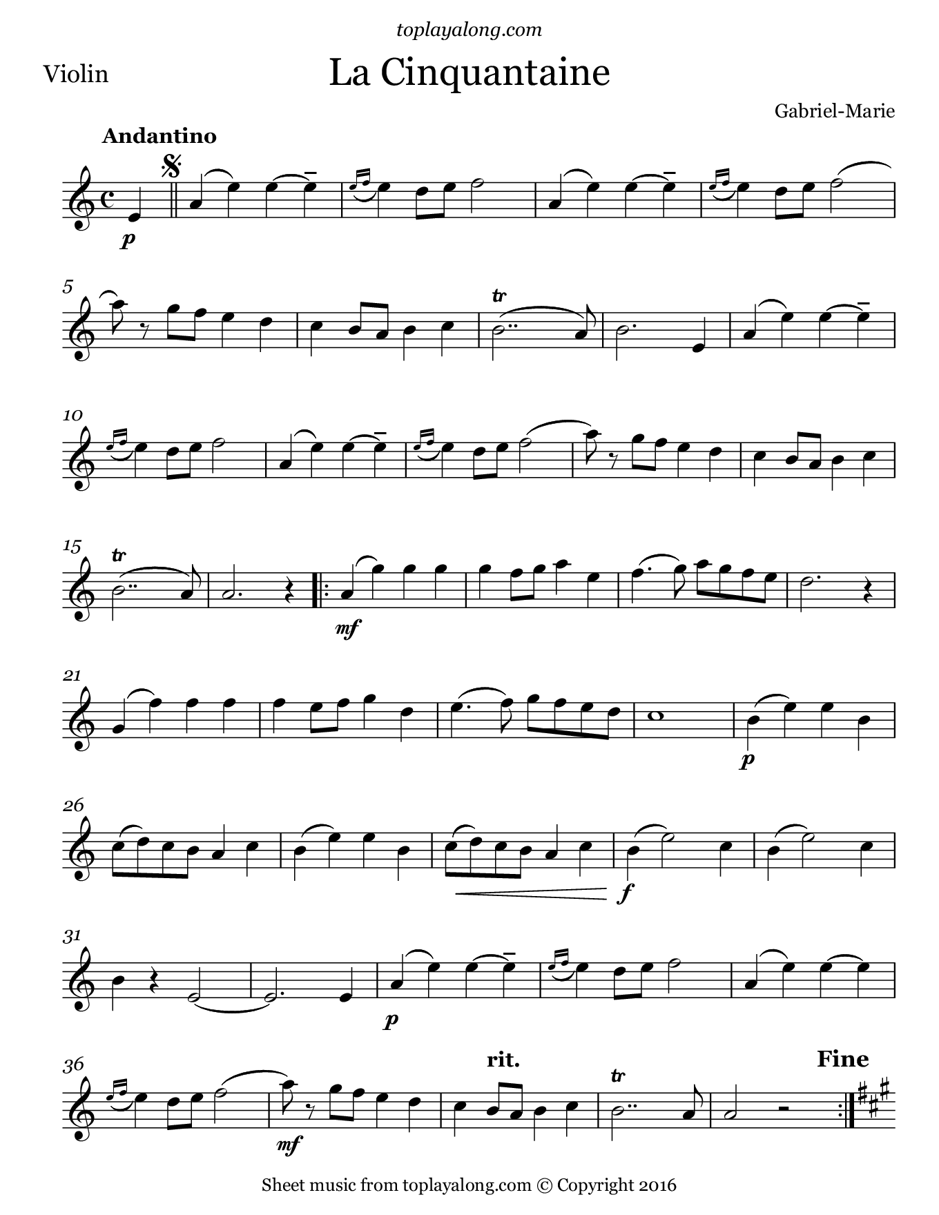 La cinquantaine by gabriel marie free sheet music for violin visit toplayalong