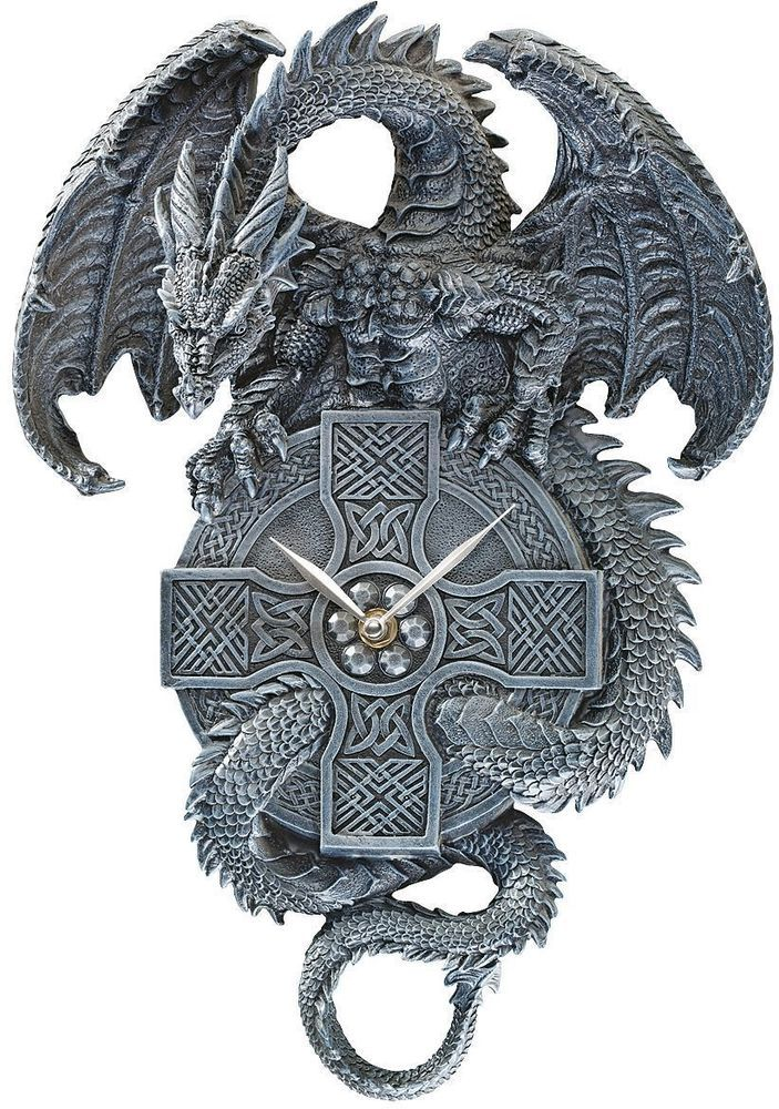 Medieval Winged Dragon The Guardian of Time. Gothic Clock Home Wall ...