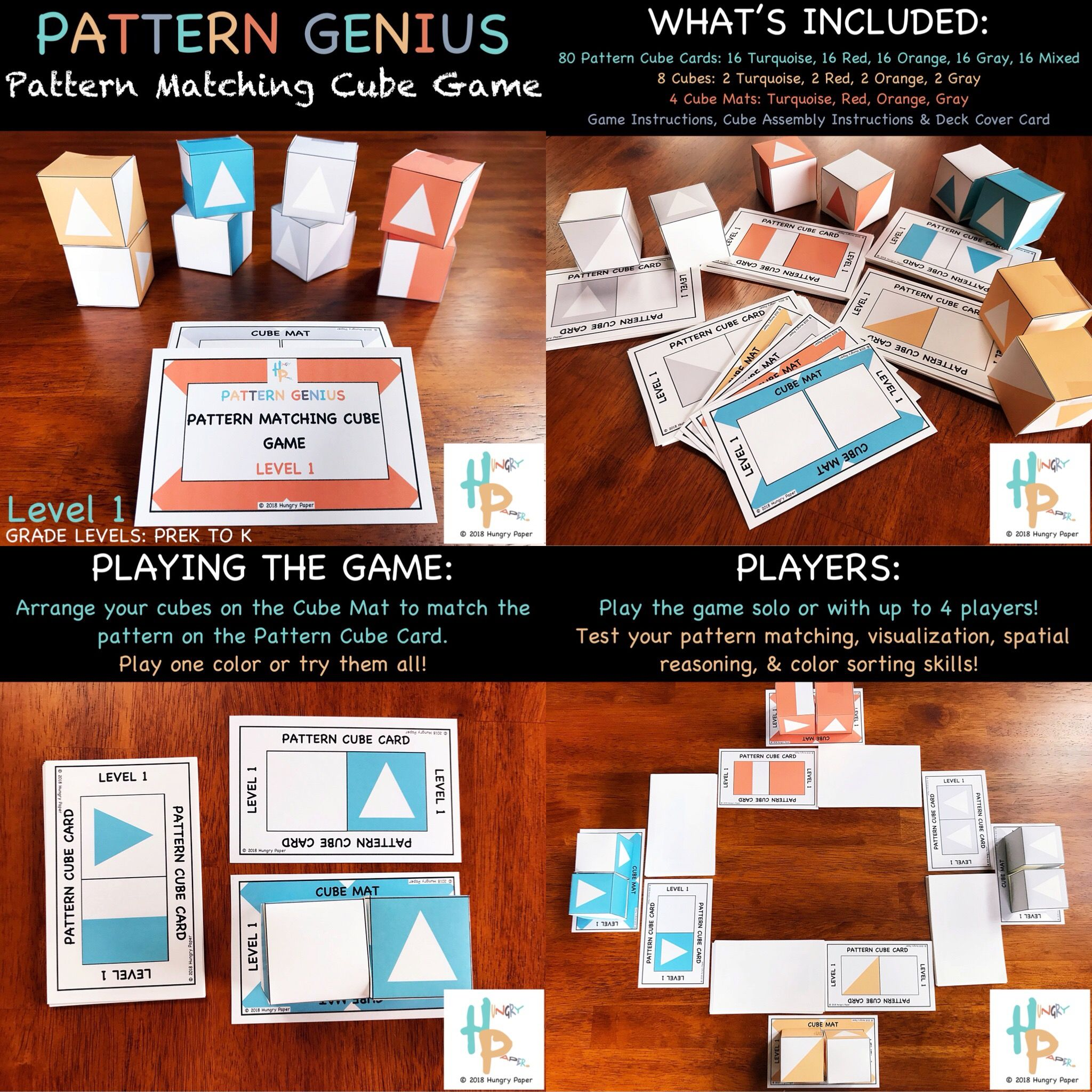 Pattern Genius Pattern Matching Cube Game Level 1 For