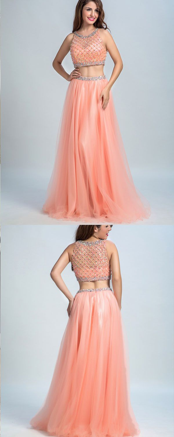 Aline scoop floorlength tulle beaded coral two piece party dress