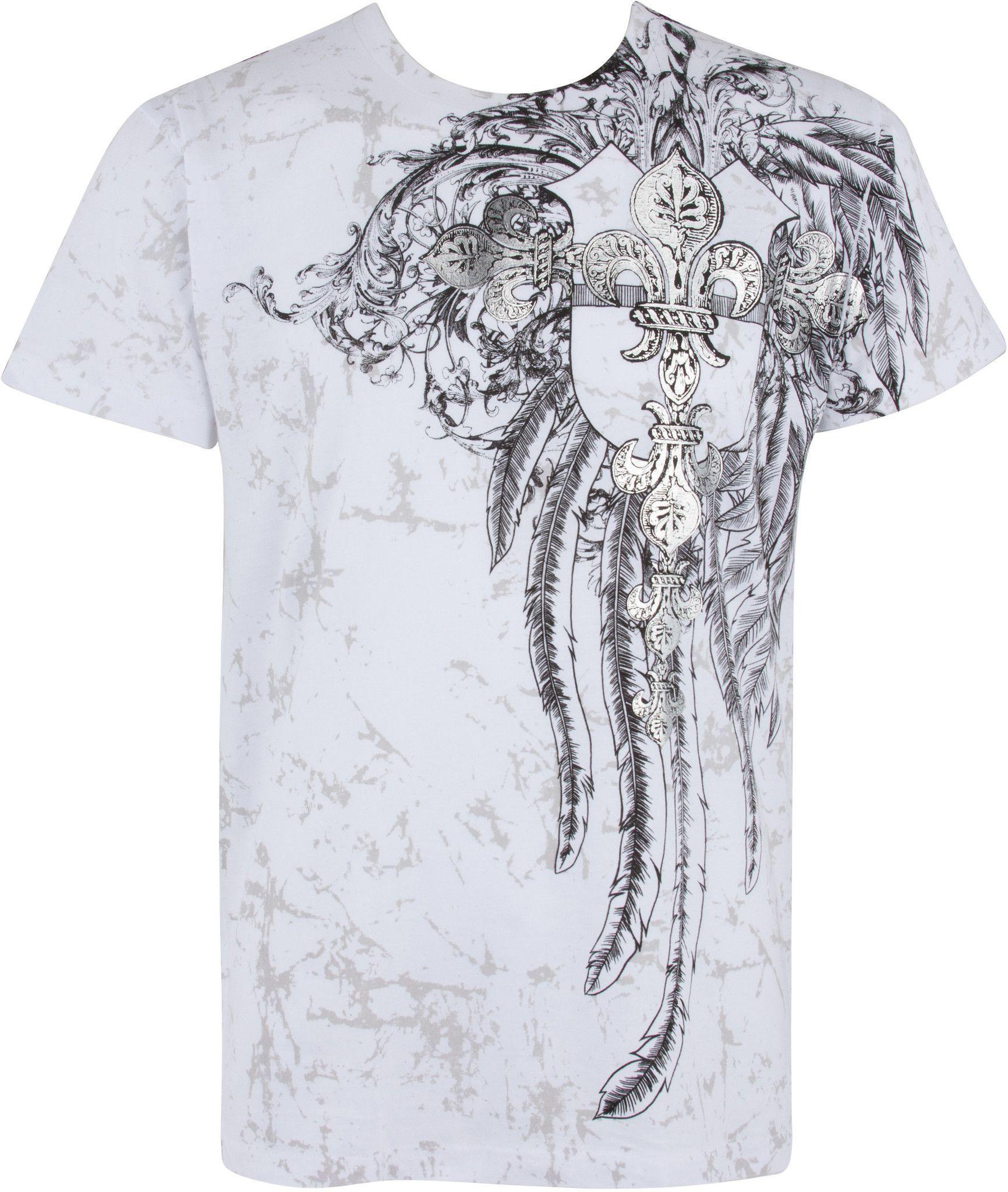 Sakkas Vines and Fleur De Lis Metallic Silver Embossed V