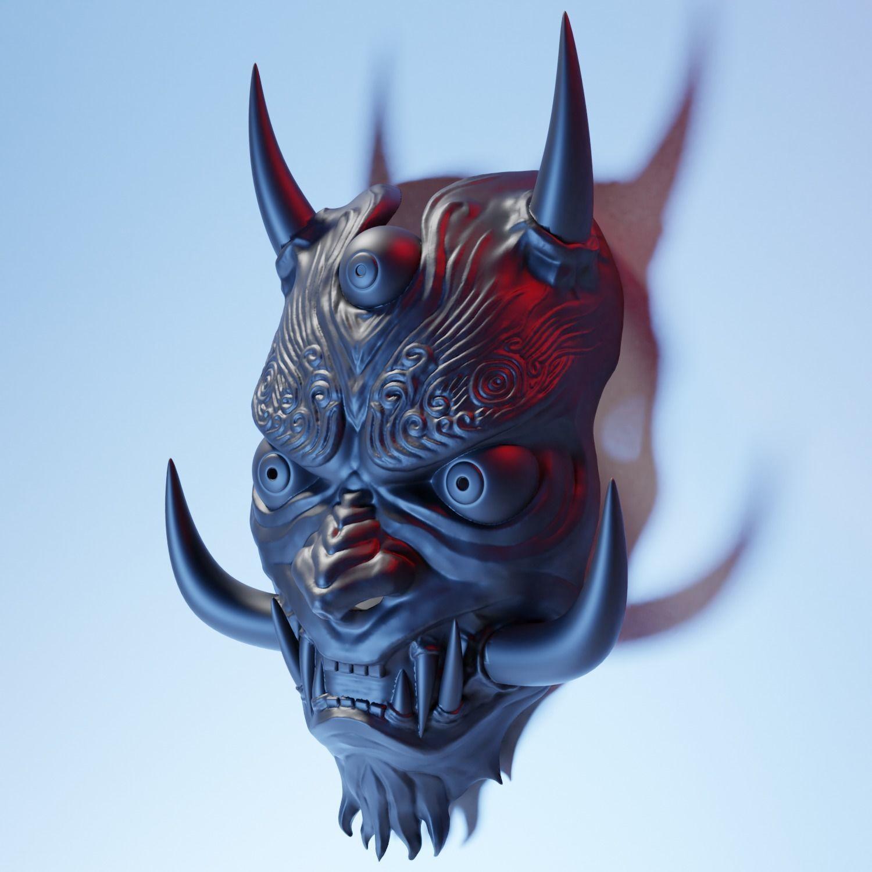 Japanese Oni Mask 3d Print Model Oni Mask Japanese Oni Mask Japanese Oni
