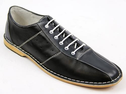 size 40 552bc 0b315 All Up Retro Mod 60s Northern Soul Bowling Shoes in Black Blue  http