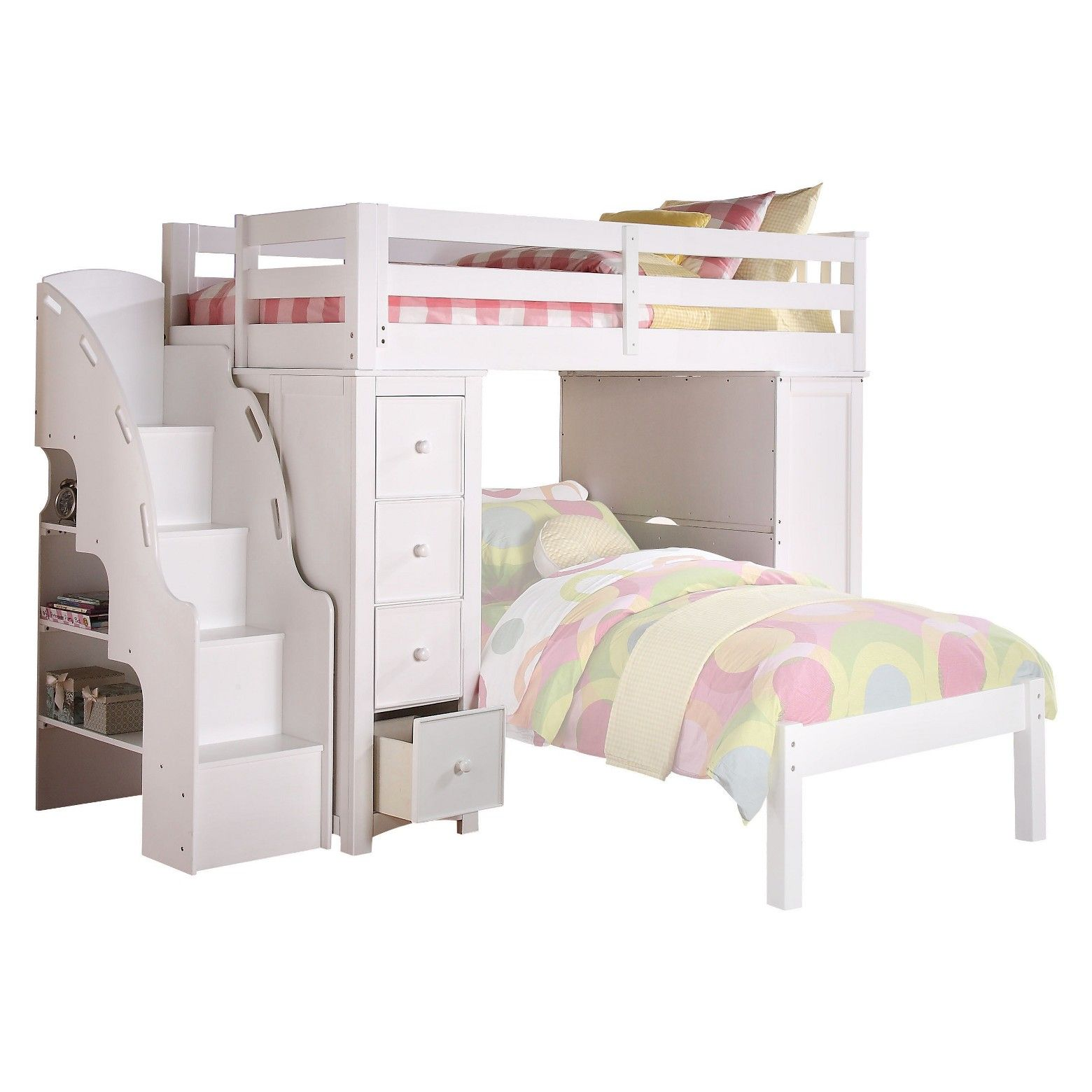 Boys' loft bed with slide (box 2)  Freya Kids Loft Bed with Bookcase  WhiteTwin  Acme