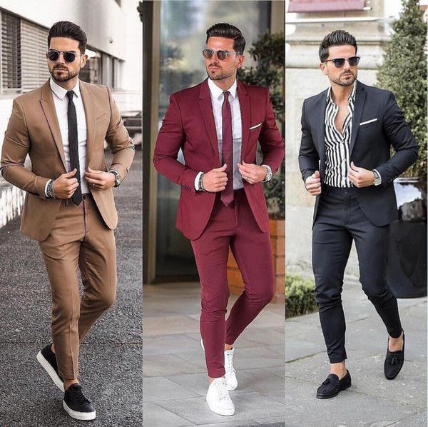 Classy Wedding Tuxedos Groom Attire Burgundy Suits 2020 Custom Make Groomsmen Suit Jacket Pants Slim Fit Bridegroom Tailcoat Brown J01 Mens Black Tie Attire Men Fashion Suits For Men Stylish Mens Outfits