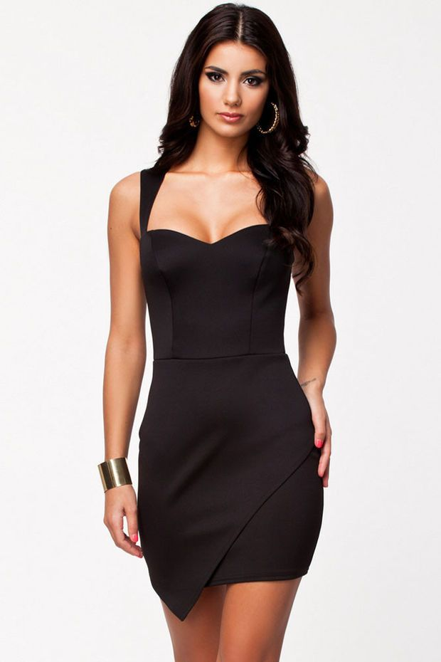 Black Soft Padded Bodycon Dress with Wrap Front Hem