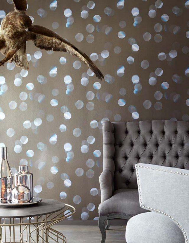 wohnzimmer tapeten design beige lichtpunkte effektfolie doman ...