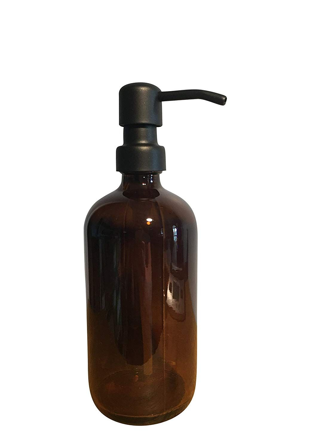 Amazon Com Black And Amber Soap Dispenser Bottle 16oz Glass