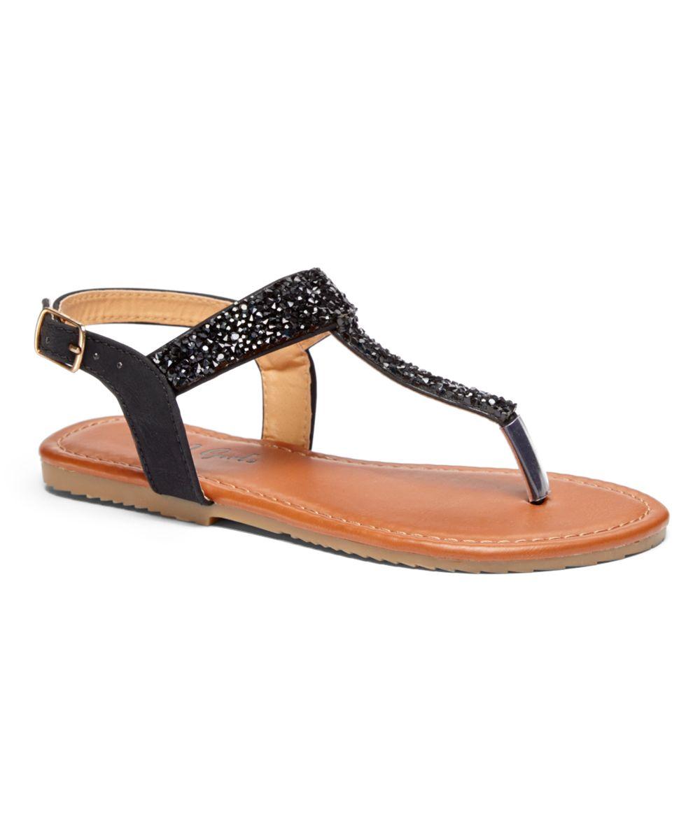 Black glitter sandals - Black Glitter Kayla Sandal Girls