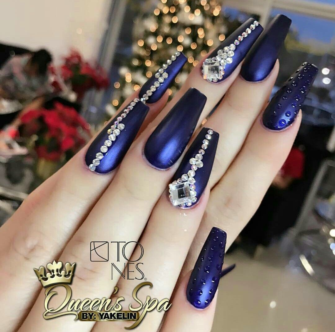 Videos Uñas Acrilicas Decoradas Uñas Azul Rey Metálico Mate Nails En 2019 Pretty Nails