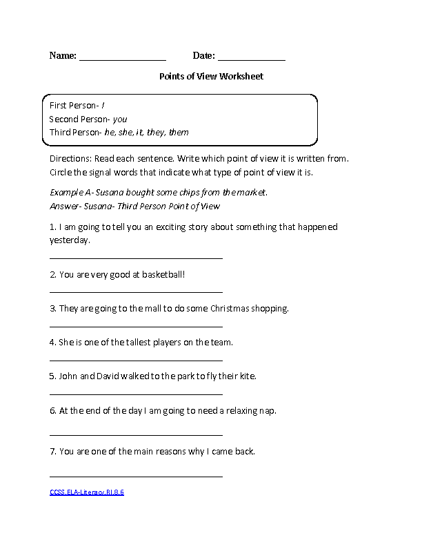 Points of View CCSSELA LiteracyRI86 Reading Informational Text – 8th Grade Reading Worksheets