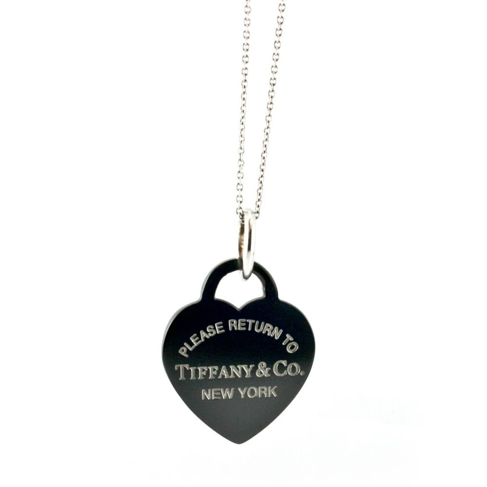 880918172c1dd Please Return to Tiffany & Co. Black Heart Tag Pendant & Chain 18 ...