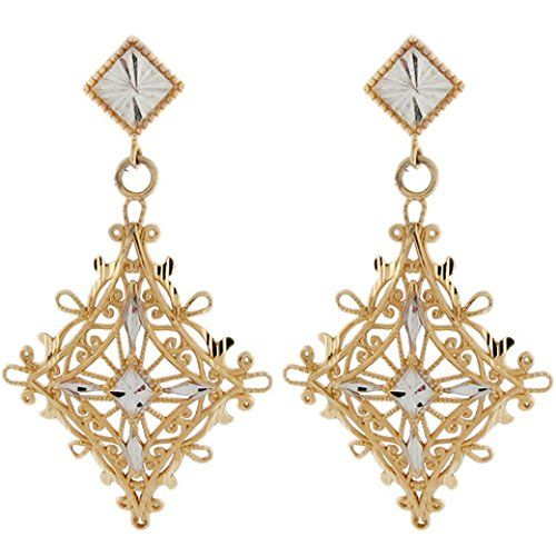 10k Two Tone Real Gold Filigree Diamond Cut Dangling Unique Earring -- You can find out more details at the link of the image.