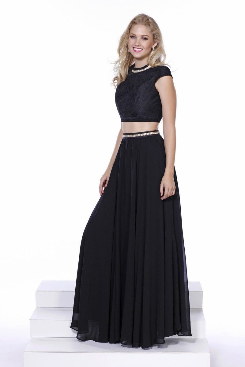 Long sexy black two piece homecoming formal prom dress products