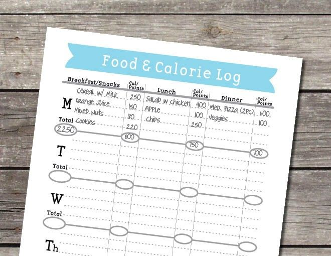 Weekly Food and Calorie Log\/Journal PDF Meal plan Pinterest - food calorie chart