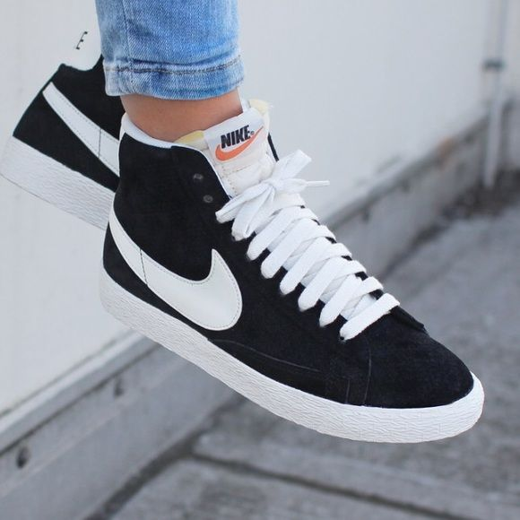 998ccdde84e7 Nike Black Perforated Suede Blazer Sneakers The Nike Blazer Mid Suede  Vintage Women s Shoe is a remake of Nike s ground-breaking basketball shoe  from the ...