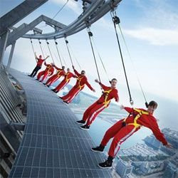 EdgeWalk at the CN Tower, Toronto's most extreme attraction. Walk on the edge of one of the world's tallest buildings, 356m/1168ft above the ground.  Yeah...no.