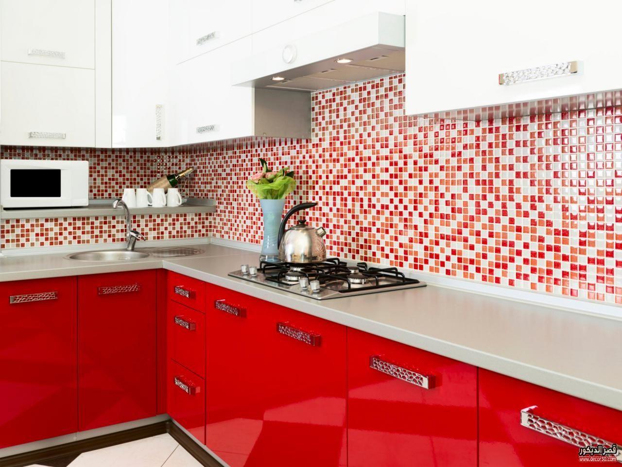 سيراميك مطابخ كليوباترا صور موديلات سيراميك قصر الديكور Red Kitchen Decor Kitchen Design Kitchen Cabinet Design