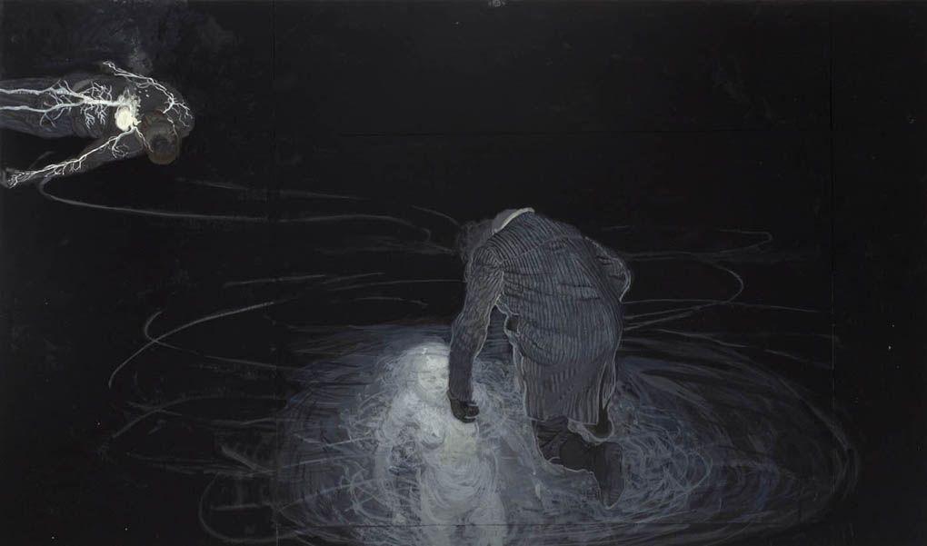 Ruprecht von Kaufmann - Auf Dünnem Eis (Studie) Gouache on Paper 29 x 50 cm