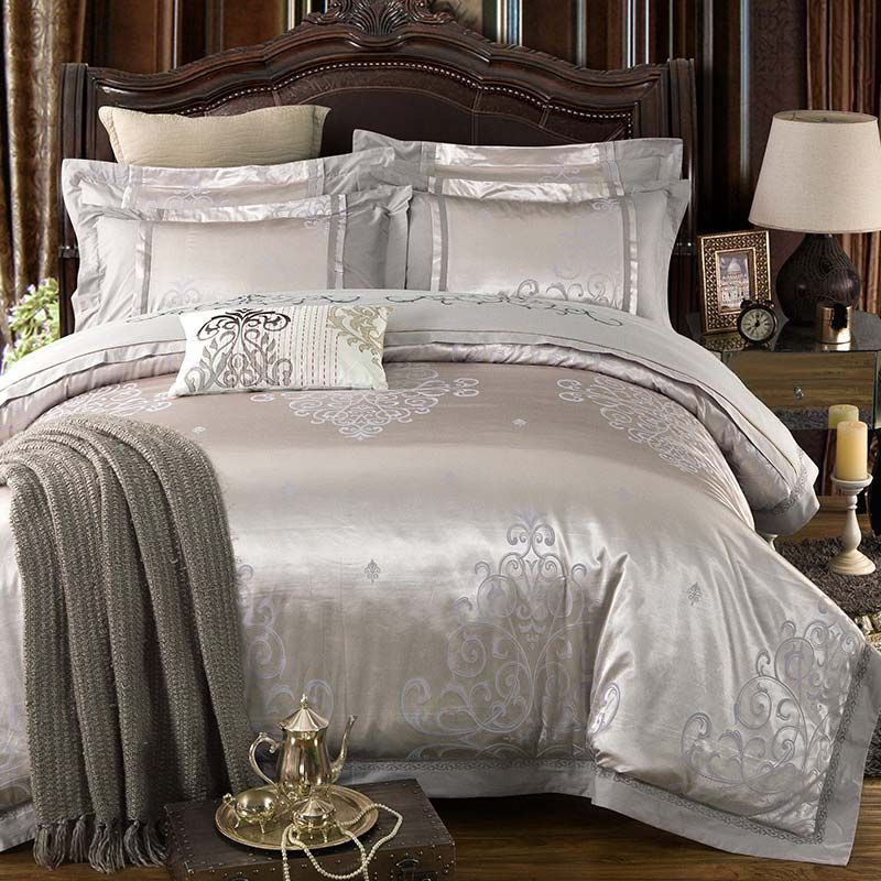 European Luxurious Bedding Set Gray Classical Jacquard Bedclothes Environmental Friendly Cotton 4pcs Duvet Cover Sets Luxury Bedding Luxury Bedspreads Luxury Bed Sheets