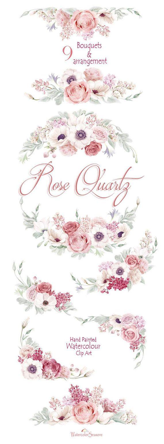 Watercolor clipart collection rose quartz wedding bouquets blush
