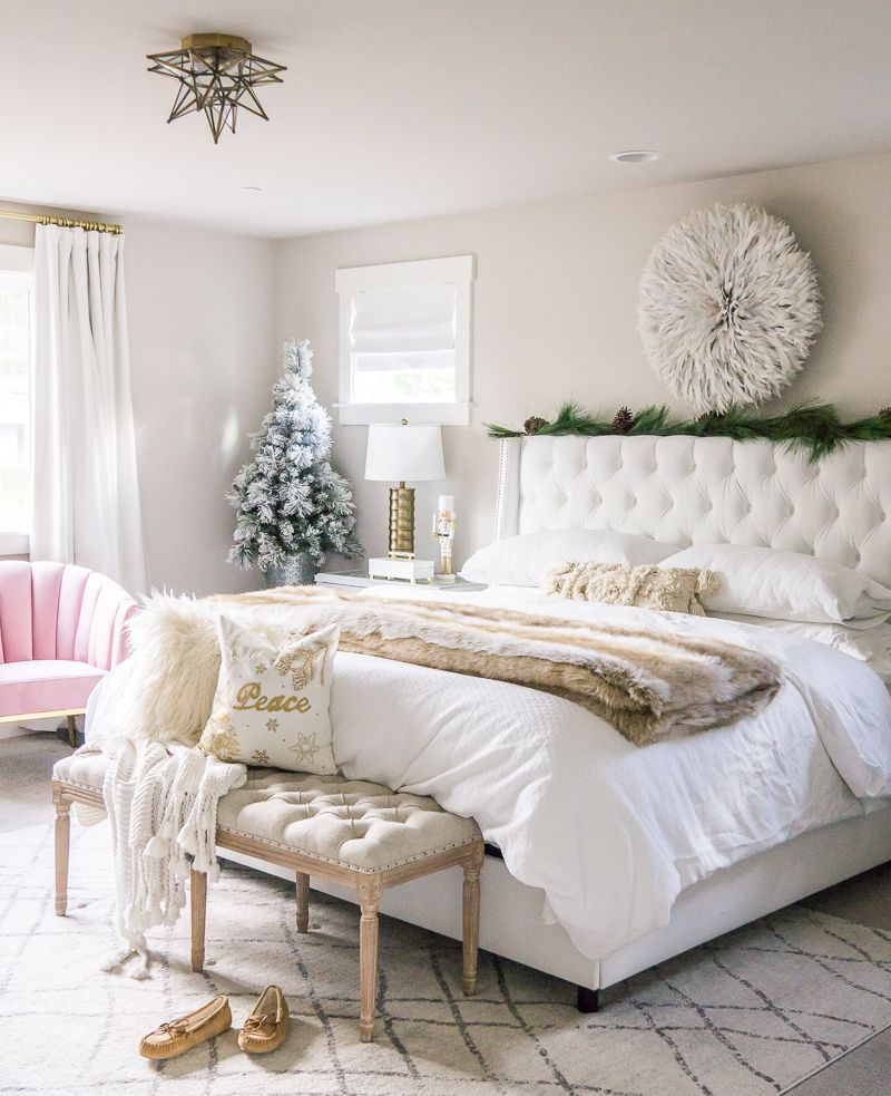 Holiday Home Tour Pink Gold Christmas Decorations 2019