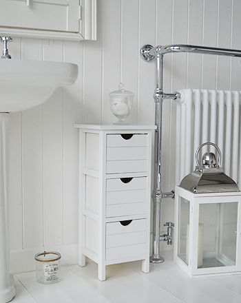 The White Lighthouse Bathroom Furniture Dorset Slim Narrow Free Standing Storage With 3 Drawers