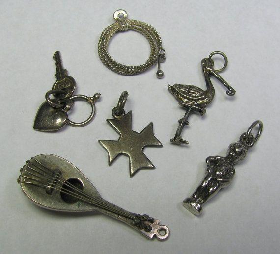 *SOLD* Lot of Six Vintage Silver Bracelet Charm by lifeintheknife on Etsy, $29.99