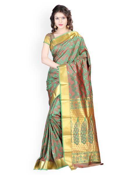 1389ab1c9d Designer Green Printed Banarasi Art Silk Saree With Mordern Leaves Desgin  And Emboss Pattern Sarees