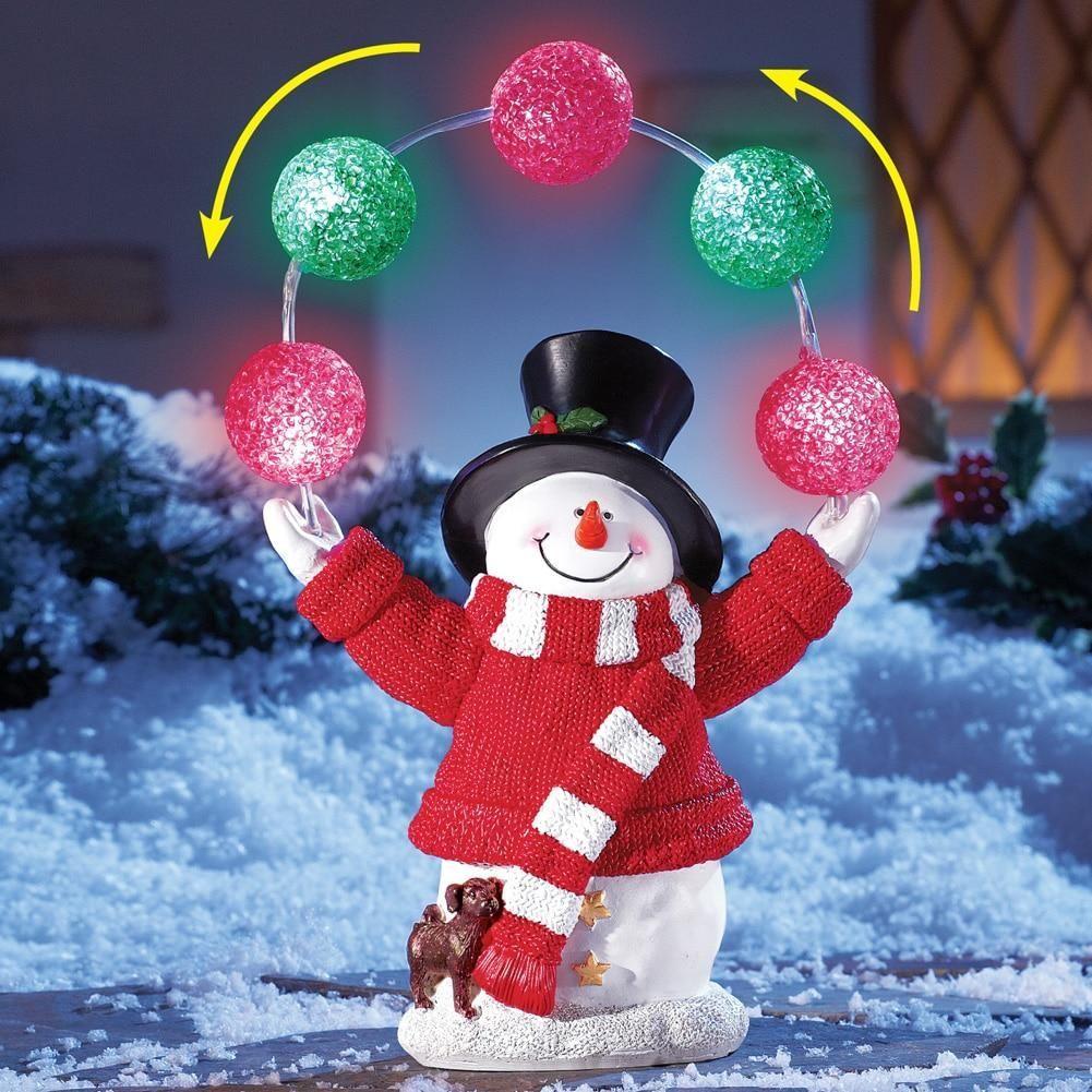Solar Holiday Juggling Snowman Christmas yard