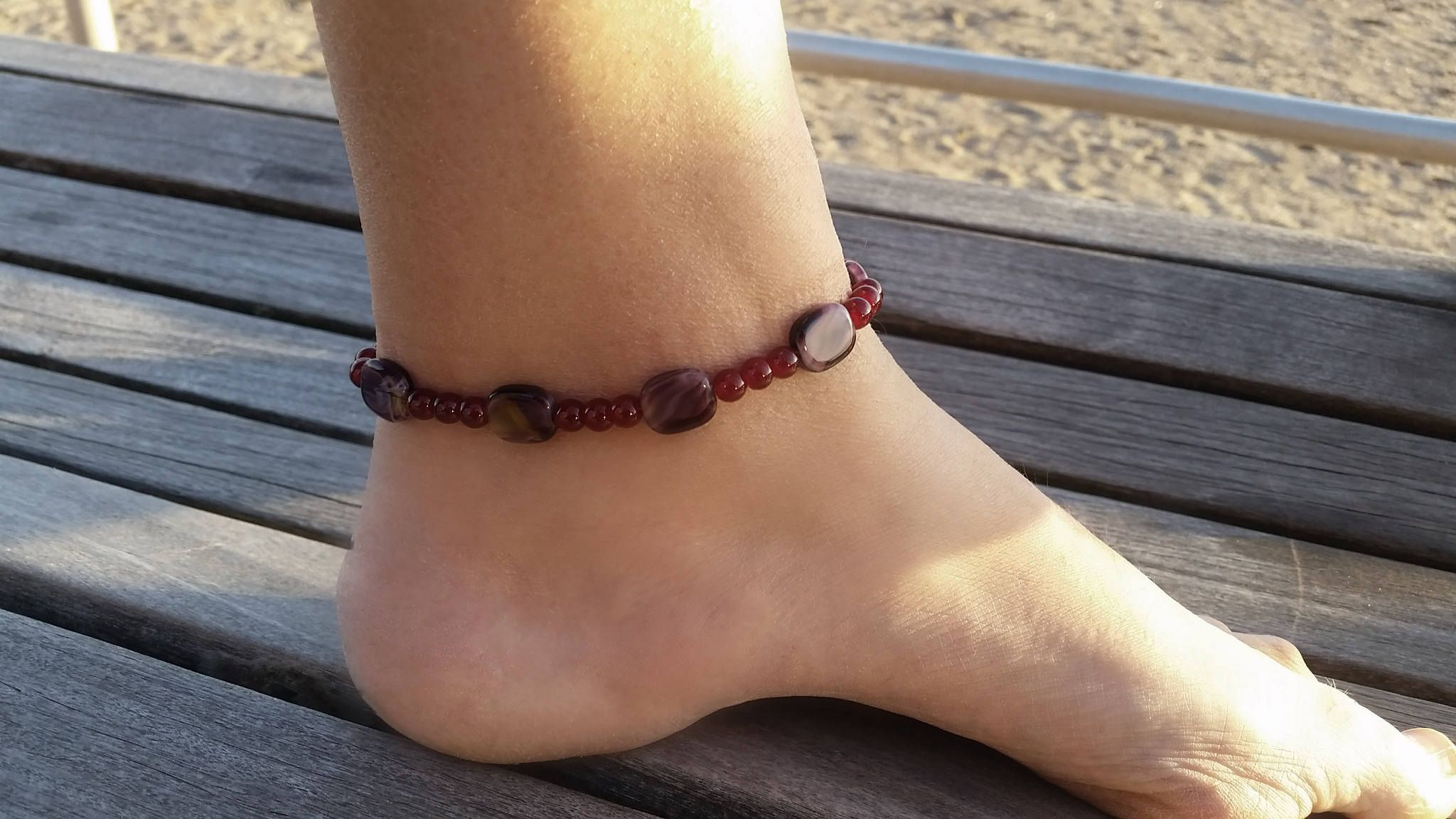 a gold eomr silver ankle il listing dainty anklet charm and wrap beads anklets for her green with anchor blue
