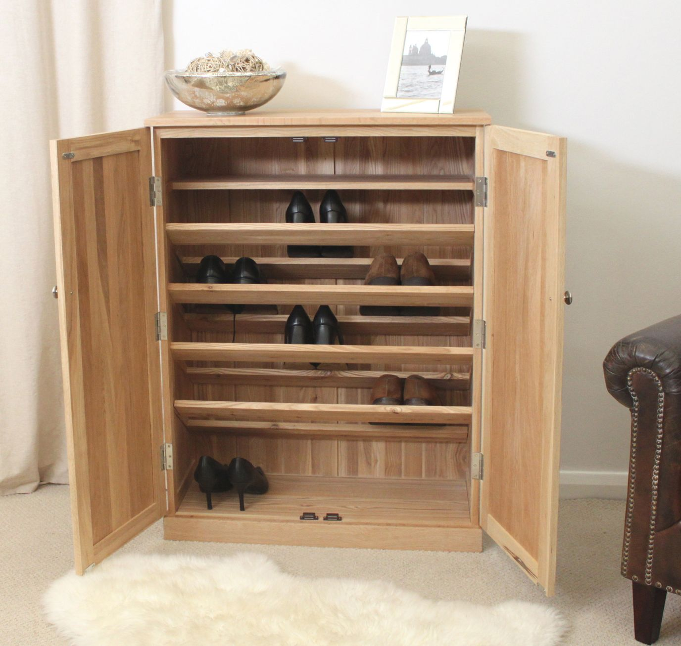 Hallway storage shoes  Love the interior of this shoes cabinet  Home Organization