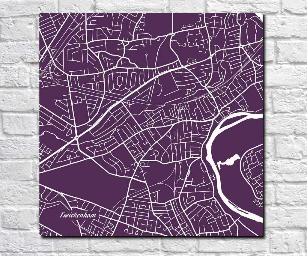 Twickenham, England City Street Map Print Custom Wall Map ...