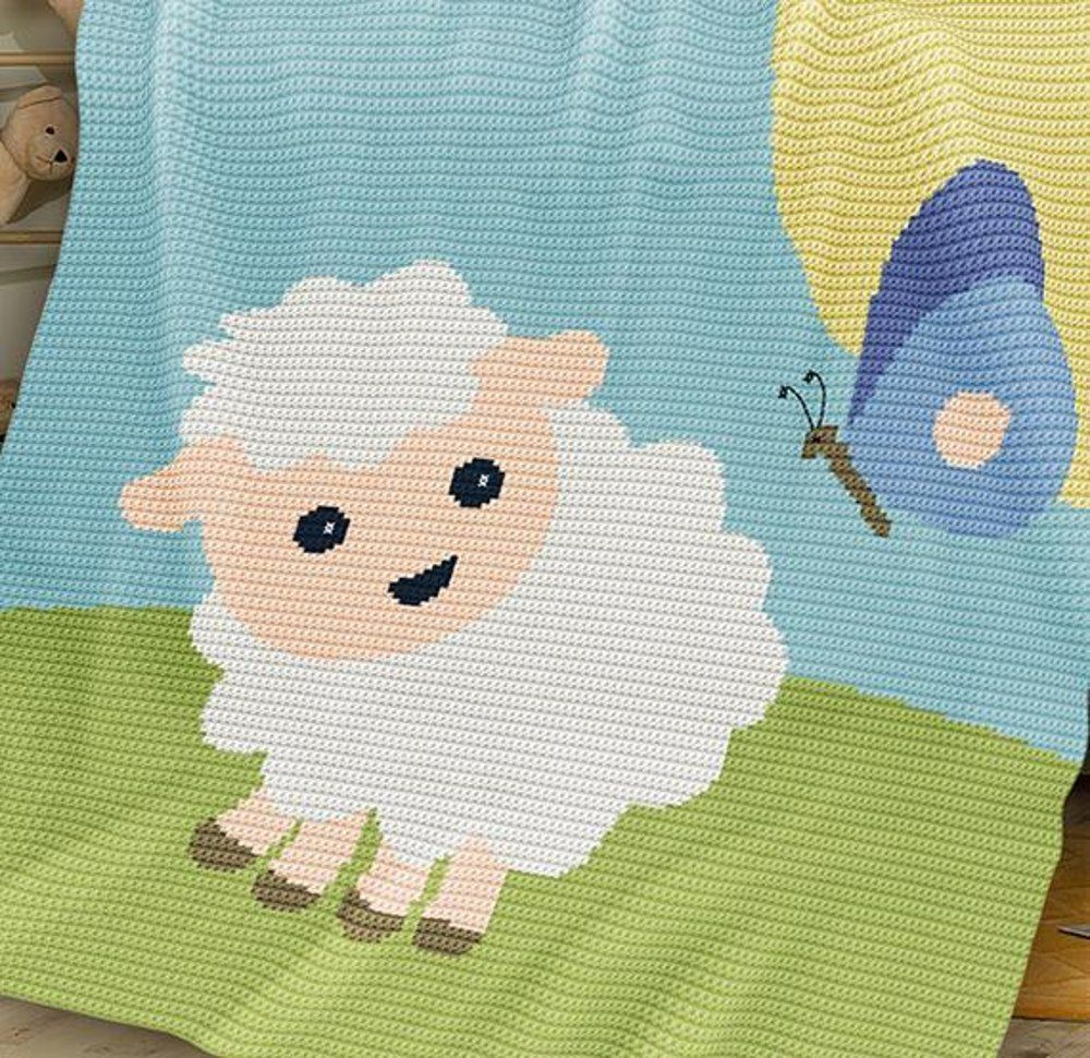 CROCHET Baby Blanket / Afghan - Sheep and Butterfly | Crochet baby ...