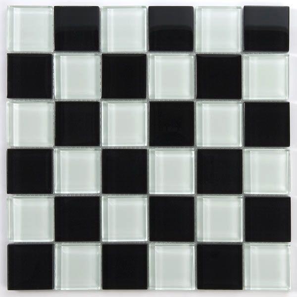Glas Mosaik Fliesen 48x48x8mm Schwarz Weiss
