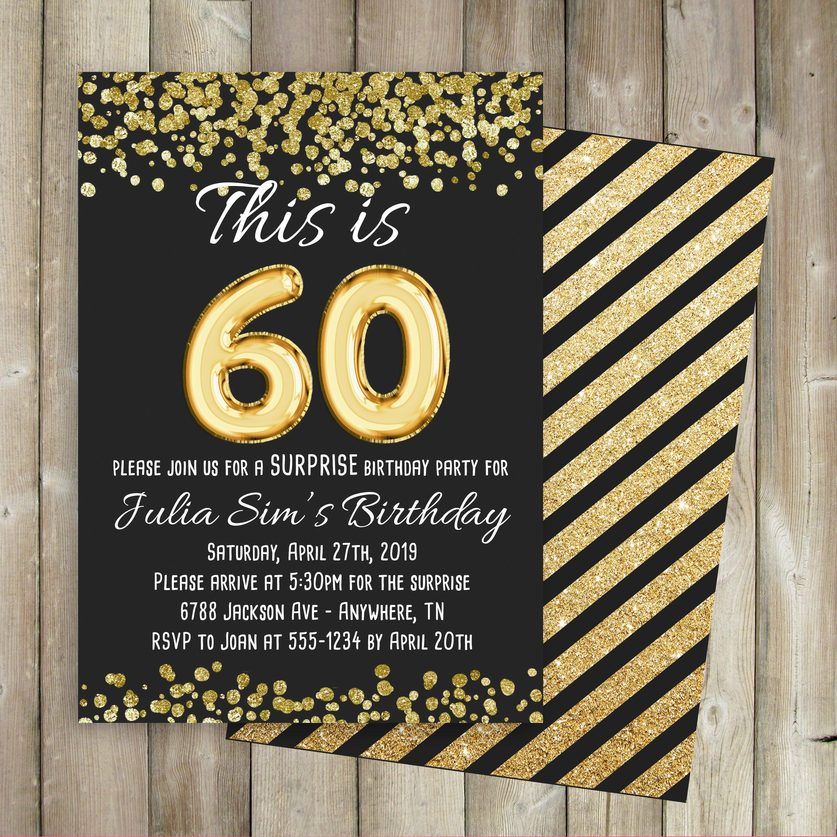 Gold ballons adult surprise birthday party invitation any