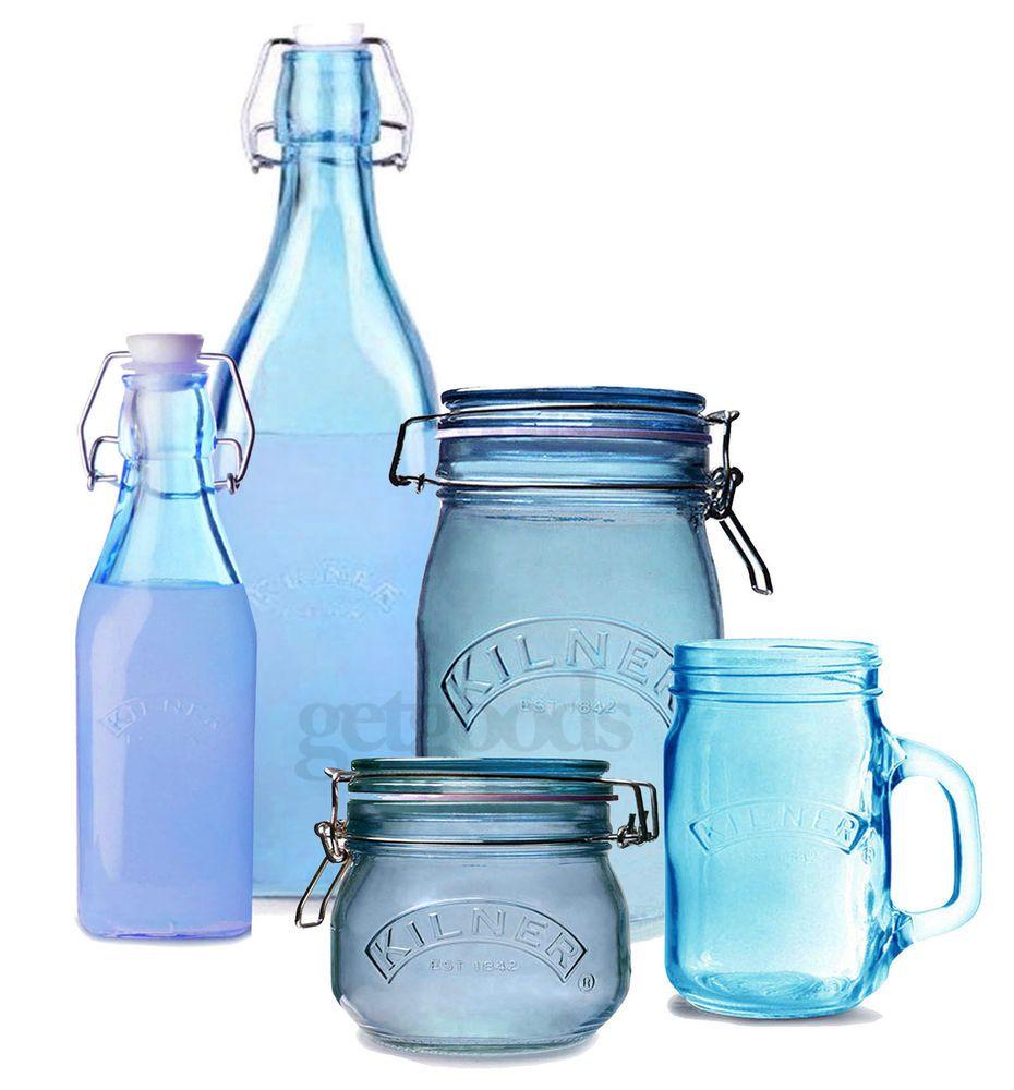 Kilner Blue Colour Glass Preserving Storage Pots Jars Bottles Mugs ...