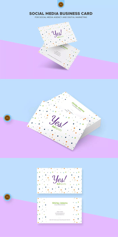 social media business card template ai