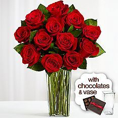 1 Dozen Red Roses with Square Glass Vase and Chocolates