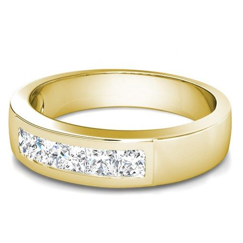 Present Yourself With Our Luxuriant 14KT Yellow Gold Diamond Mens Wedding Band Composed 100