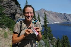 Chris and Anna are hiking 2650 miles from Mexico to Canada! Photo of Anna with NuGO Organic. Read about their incredible journey.