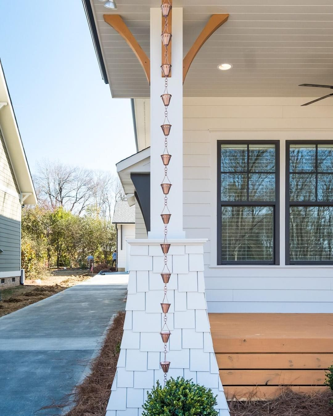 Pike Properties On Instagram Rain Chains Are A Beautiful And Functional Alternative To Traditional Closed Gutte House Exterior Craftsman House Rain Chain