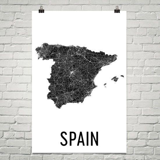Map Of Spain For Printing.Spain Map Map Of Spain Spain Print Spain Wall Art Spain Poster